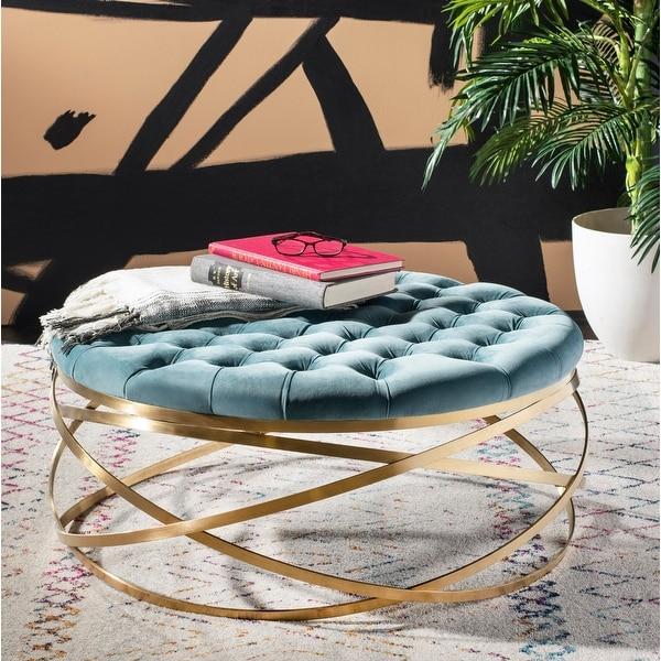 Safavieh Couture Rumi Tufted Velvet Ottoman- Seafoam / Gold. Opens flyout.