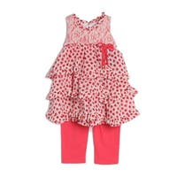 Isobella & Chloe Little Girls Coral Sleeveless Lace Ruffle 2 Pc Outfit