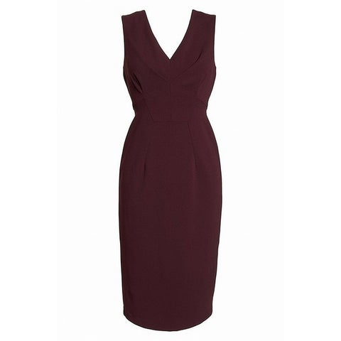 Maggy London Red Burgundy Women's 0 Crepe V-Neck Sheath Dress