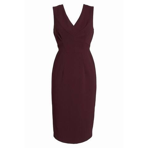 Maggy London Red Burgundy Women's 0 Crepe V-Neck Sheath Dress
