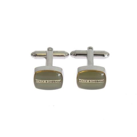 Dolce & Gabbana Green Silver Brass Men's Cufflinks - One Size