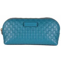Gucci 449894 Cobalt Blue Leather Micro GG Guccissima Cosmetic Bag