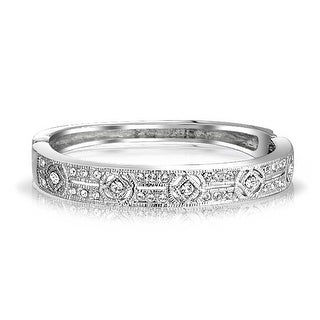 Bling Jewelry Pave Crystal Clear CZ Bridal Bangle Bracelet Silver Plated
