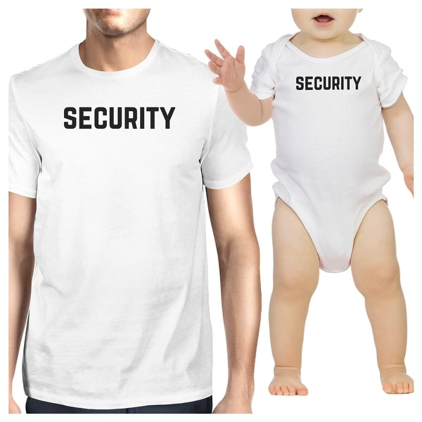 Security Mens White T-Shirt Baby Bodysuit Matching Clothes Dad Gifts