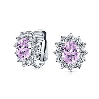Alexandrite Colored Cz Clip On Bridal Stud Earrings Rhodium Plated 9 Mm