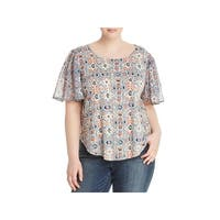 Lucky Brand Womens Plus Blouse Printed Key Hole Back