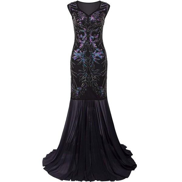 d97c88ae4a Shop Vijiv Black Blue Womens Size Medium M Gown Sequin Gatsby Dress ...