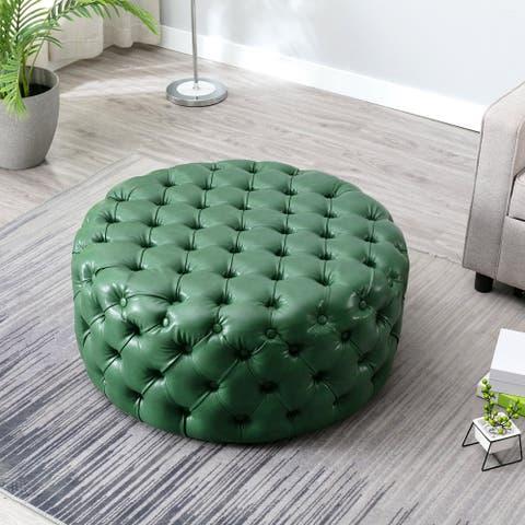 Modern Button-Tufted 35.4 Inch Oversize Round Cocktail Ottoman