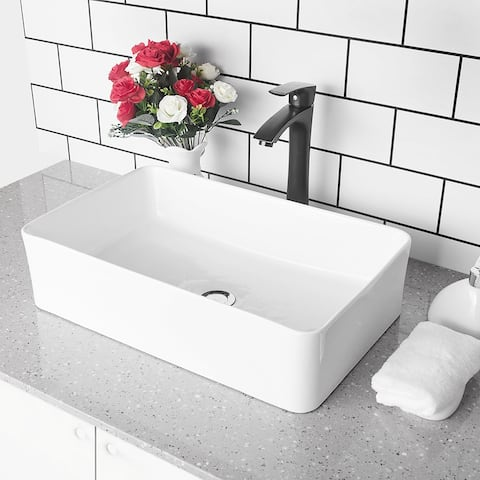 Vitreous China Rectangular Bathroom Vessel Sink