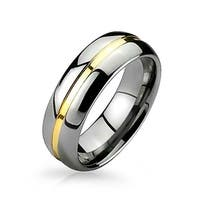 Two Tone Tungsten Gold Plated Groove Inset Wedding Band 8mm
