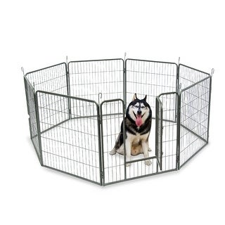 """Link to 24""""/32'' Dog Pet Playpen Heavy Duty Metal Exercise Fence Hammigrid 8 Panel Silver Similar Items in Dog Houses & Pens"""