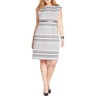 Calvin Klein Womens Plus Casual Dress Striped Pleated