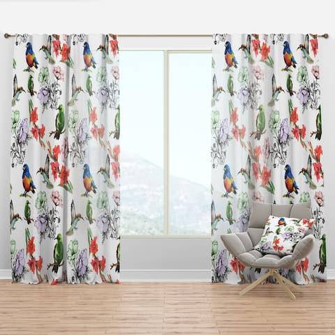 Designart 'Hummingburds and Blosssoming Drawn Flowers' Floral Curtain Panel