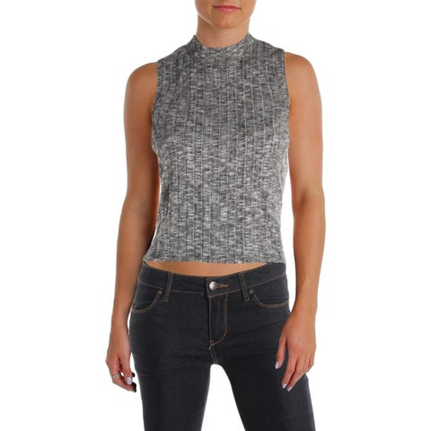 Michelle by Comune Womens Crop Sweater Mock Turtleneck Sleeveless