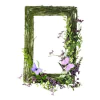 "21"" Decorative Purple and Green Mixed Berry and Butterfly Rectangular Artificial Wreath - Unlit"