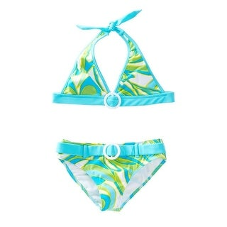 Azul Little Girls Green Blue Happy Spring Halter Bikini 2 Pc Swimsuit (3 options available)