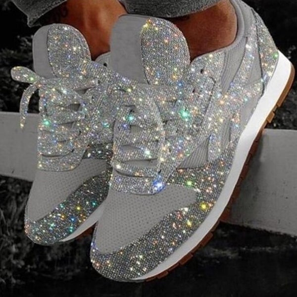 Sparkly Crystal Platform Sneakers. Opens flyout.