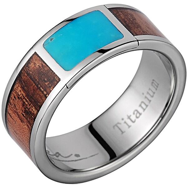 Titanium Wedding Band With Koa Wood & Square Turquoise Inlay 8mm