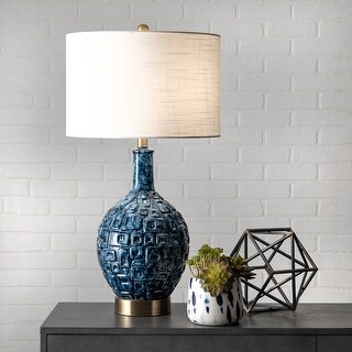 "Link to nuLOOM 28"" Tegular Ceramic Flask Linen Shade Table Lamp Similar Items in Table Lamps"