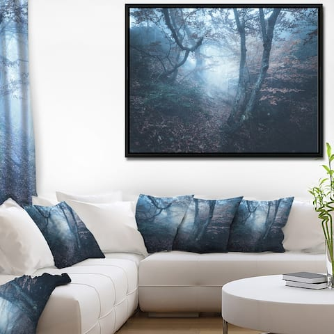 Designart 'Beautiful Autumn in Forest' Landscape Photography Framed Canvas Print