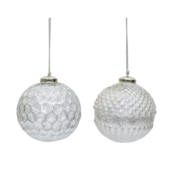 """Pack of 8 Assorted Textured Silvery White Glass Christmas Ball Ornaments 4"""""""