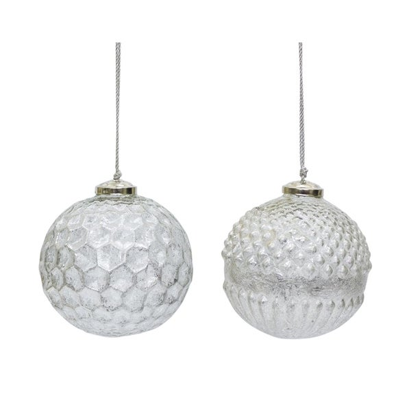 "Pack of 8 Assorted Textured Silvery White Glass Christmas Ball Ornaments 4"" - silver"