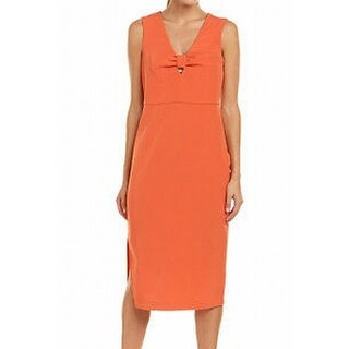 Laundry by Shelli Segal NEW Orange Womens Size 0 Knot Sheath Dress