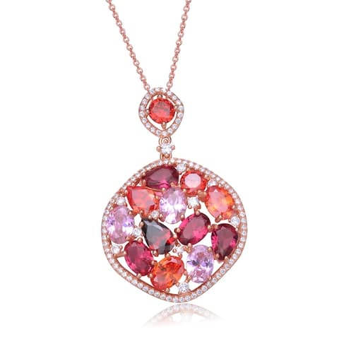 Sterling Silver Cubic Zirconia Rose Gold Pendant