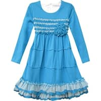 Isobella & Chloe Little Girls Turquoise Lace Trim Ruffle Hem Dress 2T-6X