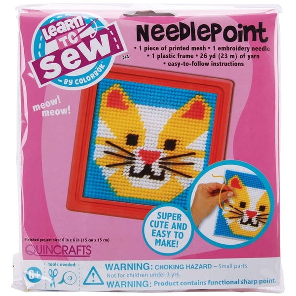 "Sew Cute! Cat Needlepoint Kit-6""X6"" Stitched In Yarn"