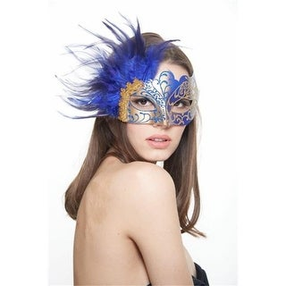 Plastic Royal Venetian Masquerade Mask with Glitter & Feathers&#44