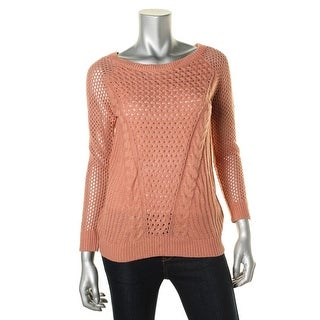 Hippie Rose Womens Juniors Textured Cable Knit Pullover Sweater