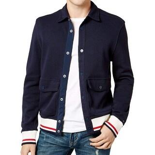 Tommy Hilfiger Navy Blue Mens Large L Snap-Button Bomber Jacket