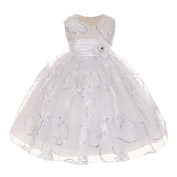 Baby Girls White Tulle Embroidery Sequins Flower Girl Easter Dress 3-24M