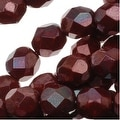 Czech Fire Polished Glass Beads 6mm Round 'Burgundy Iris' (25) - Thumbnail 0