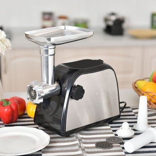 Costway Electric Meat Grinder 2000W Stainless Steel Sausage Stuffer Maker Home Use - as pic