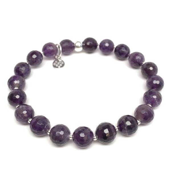 "Purple Amethyst Eve 7"" Sterling Silver Stretch Bracelet"