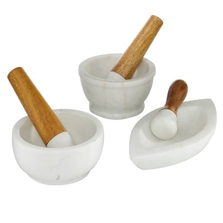 Link to 3 Pcs Marble Mortar And Pestle Set With Wooden Handle White - 6 x 7 x 5 Similar Items in Cookware