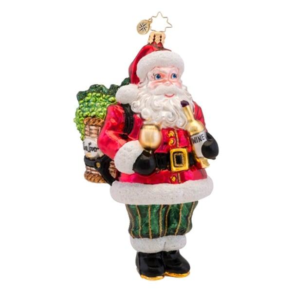 Christopher Radko Glass Wine Not Nick? Santa Claus Christmas Ornament #1017369 - RED