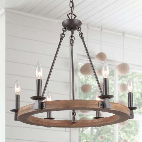 The Gray Barn Round 6-lights Wagon Wheel Wooden Chandelier Light Fixture