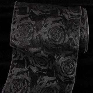 "Sheer Black with Black Roses Print Wired Craft Ribbon 6"" x 20 Yards"