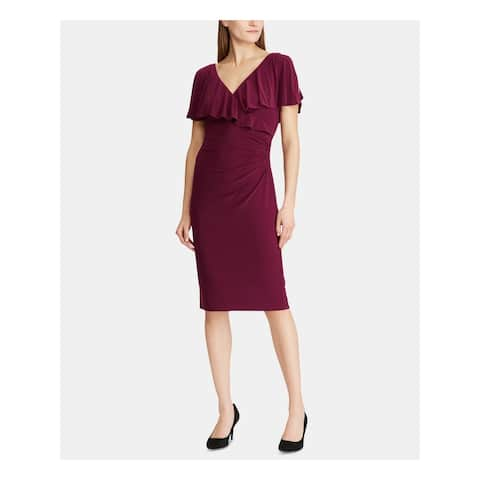 RALPH LAUREN Burgundy Short Sleeve Midi Sheath Dress Size 10