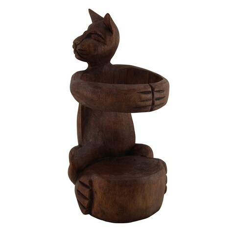 Kitty Cuddle Hand Carved Wooden Hugging Cat Wine Bottle Holder