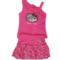 Hello Kitty Little Girls Fuchsia Ruffle Shoulder Sequined 2 Pc Skirt Set 4-6X