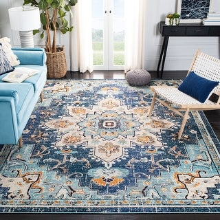 Link to SAFAVIEH Madison Diederike Boho Medallion Distressed Rug Similar Items in As Is