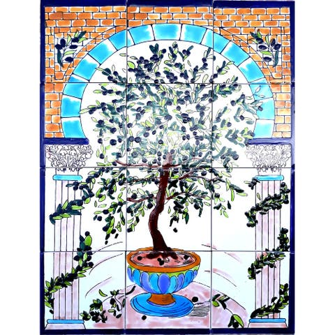 18in x 24in Tree of Life Unique Mosaic Tile Ceramic Wall Mural 12pc