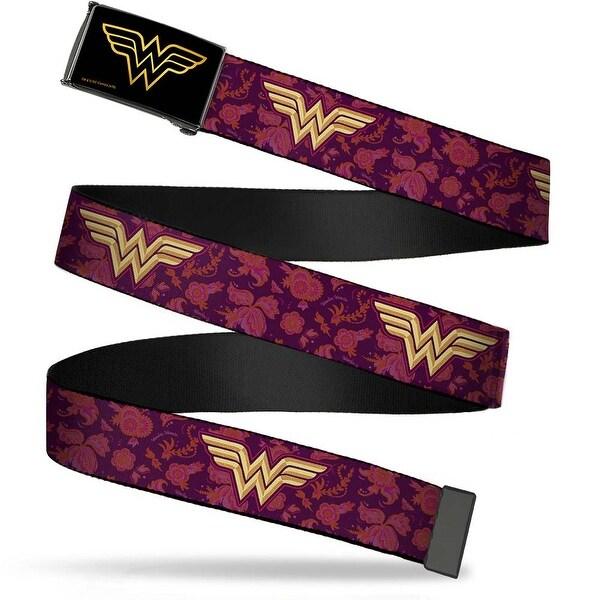 Wonder Woman Brushed Gold Black Cam Wonder Woman Logo Floral Collage Web Belt