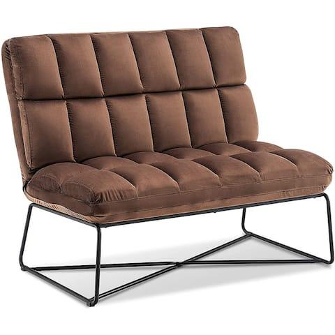 Mcombo Loveseat Sofa Couch, Mid-Century Velvet Armless Settee, 2-Seater Upholstered Bench for Living Room Bedroom 4018