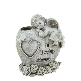 "6.5"" Sleeping Cherub Angel ""In Loving Memory"" Garden Statuary Bereavement Bud Vase"