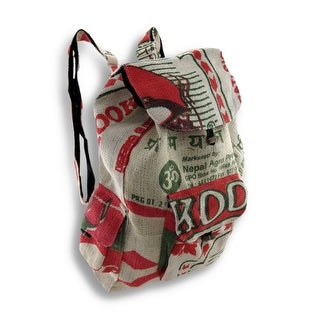 White, Red, Green Recycled Burlap Rice Bag Drawstring Backpack